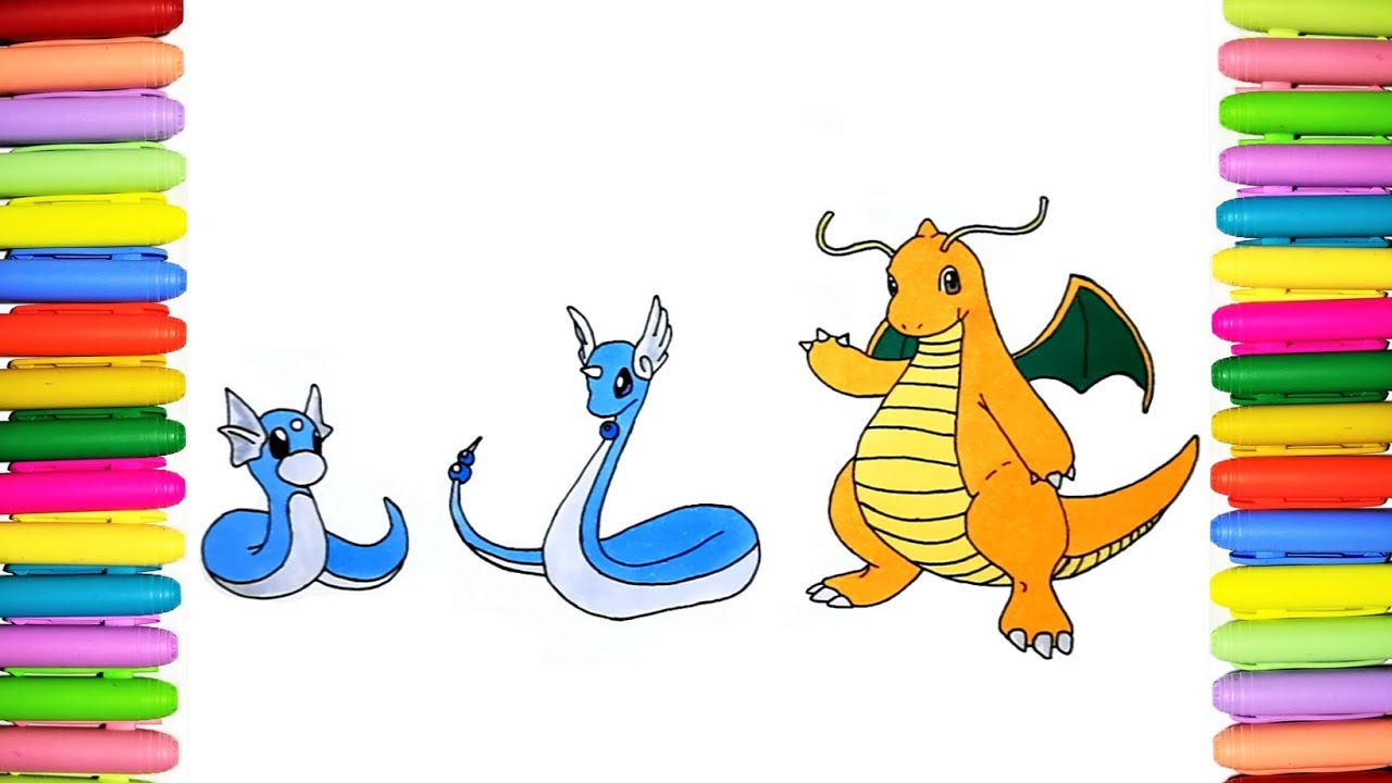 Pokemon coloring pages Dratini Dragonair and Dragonite