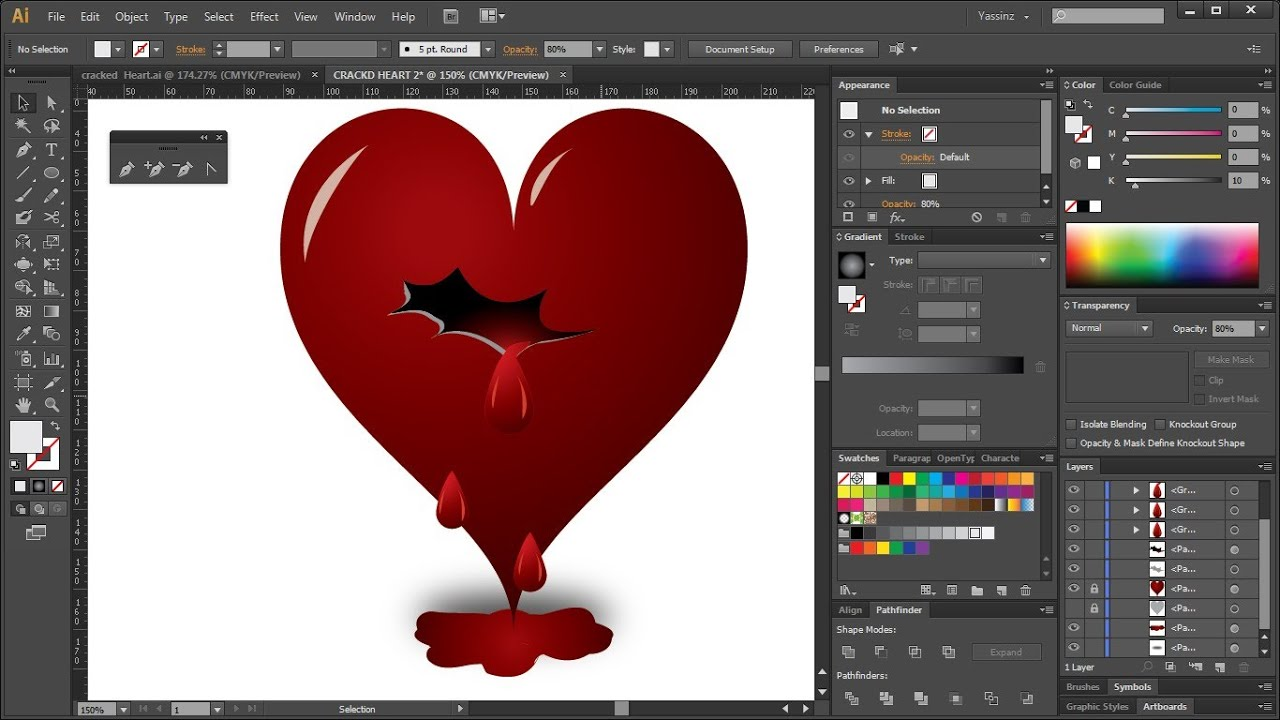 how to draw a bleeding heart