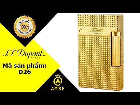 Bật lửa Dupont màu vàng hồng kẻ caro D26 – Ambe.vn