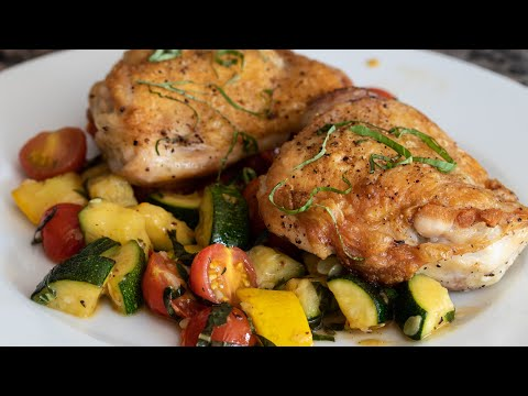 Crispy Chicken Thighs With Summer Vegetables (Squash, Zucchini, Cherry Tomatoes), Lemon & Basil