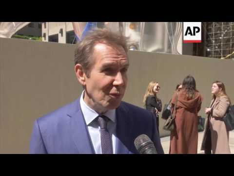 Pop artist Jeff Koons talks about his latest installation at Rockefeller Center, a 45-foot inflatabl