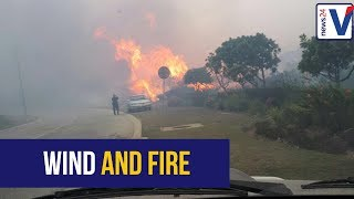 High winds continue to fan the fire outside Plettenberg Bay this morning