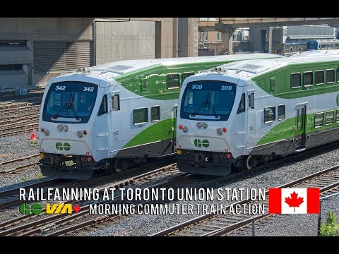 4K - Morning Rush Hour Trains at Toronto Union Station - GO, VIA, UP Express & Amtrak Trains