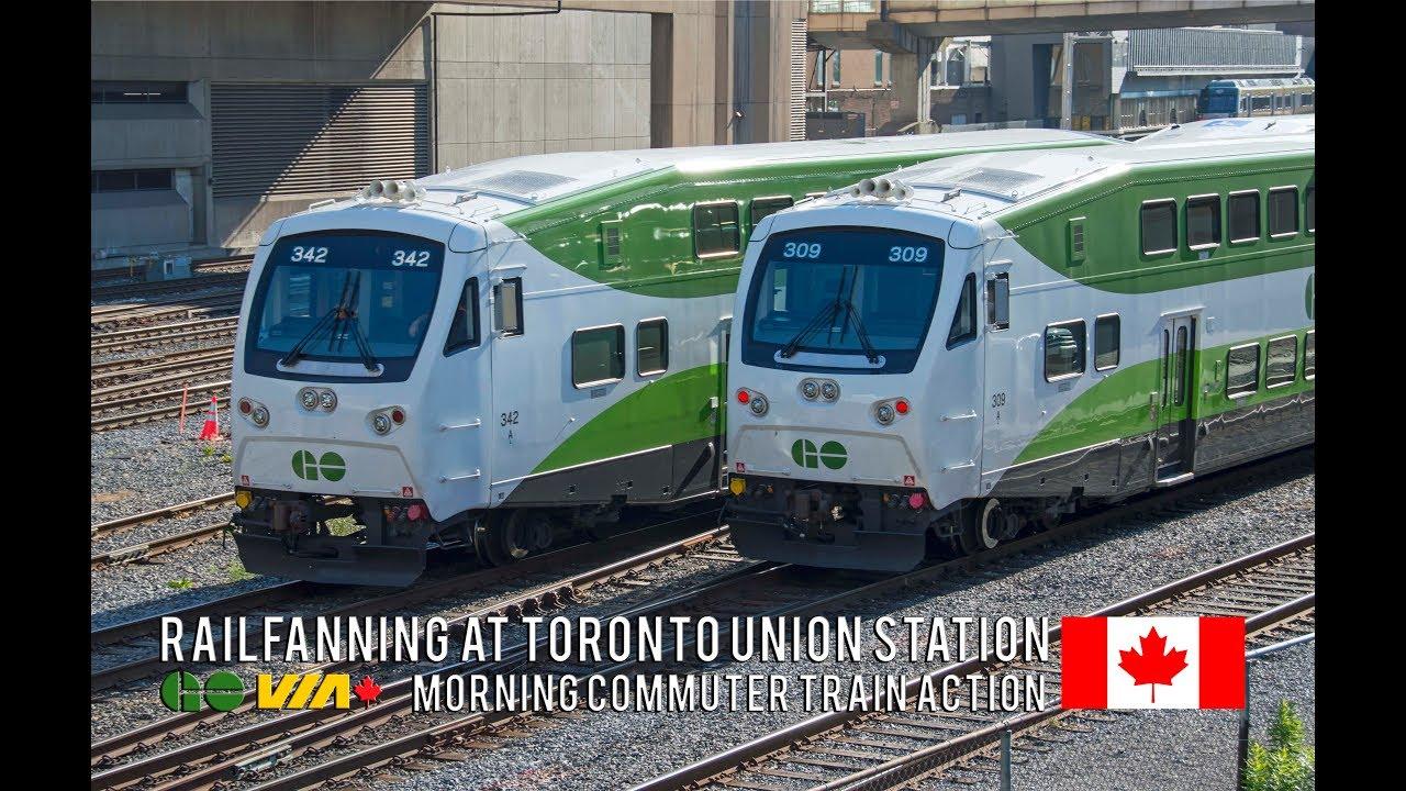 4k Morning Rush Hour Trains At Toronto Union Station