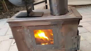 Part 3  Ammo box Stove with secondary air intake (smokeless) in action.