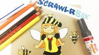HONEY BEE FAIRY CHIBI DRAWING Scrawlrbox challenge unboxing art challenge | how to draw  speedpaint
