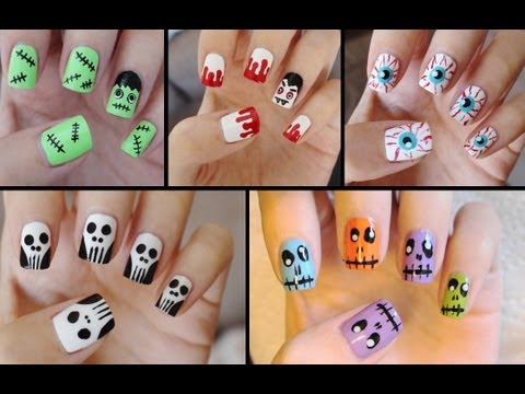 Five Cute Easy Halloween Nail Tutorials Youtube