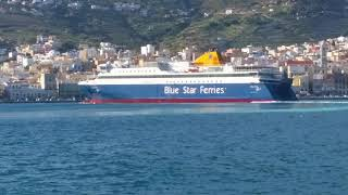 BLUE STAR PAROS arrival to Syros