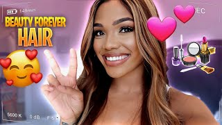 GET READY WITH ME!! **BEAUTY FOREVER HAIR**