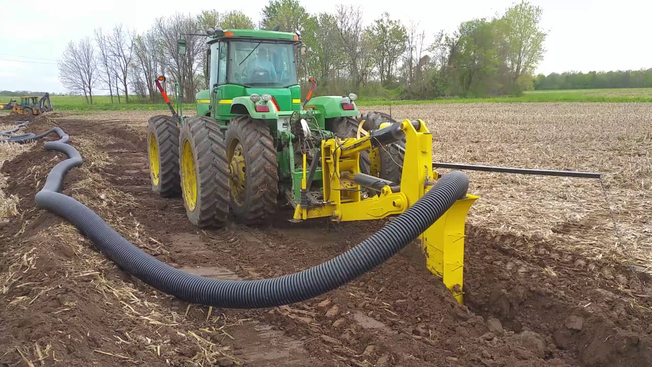 laying 8 field drain tile
