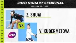 Zhang Shuai vs. Veronika Kudermetova | 2020 Hobart Semifinal | WTA Highlights