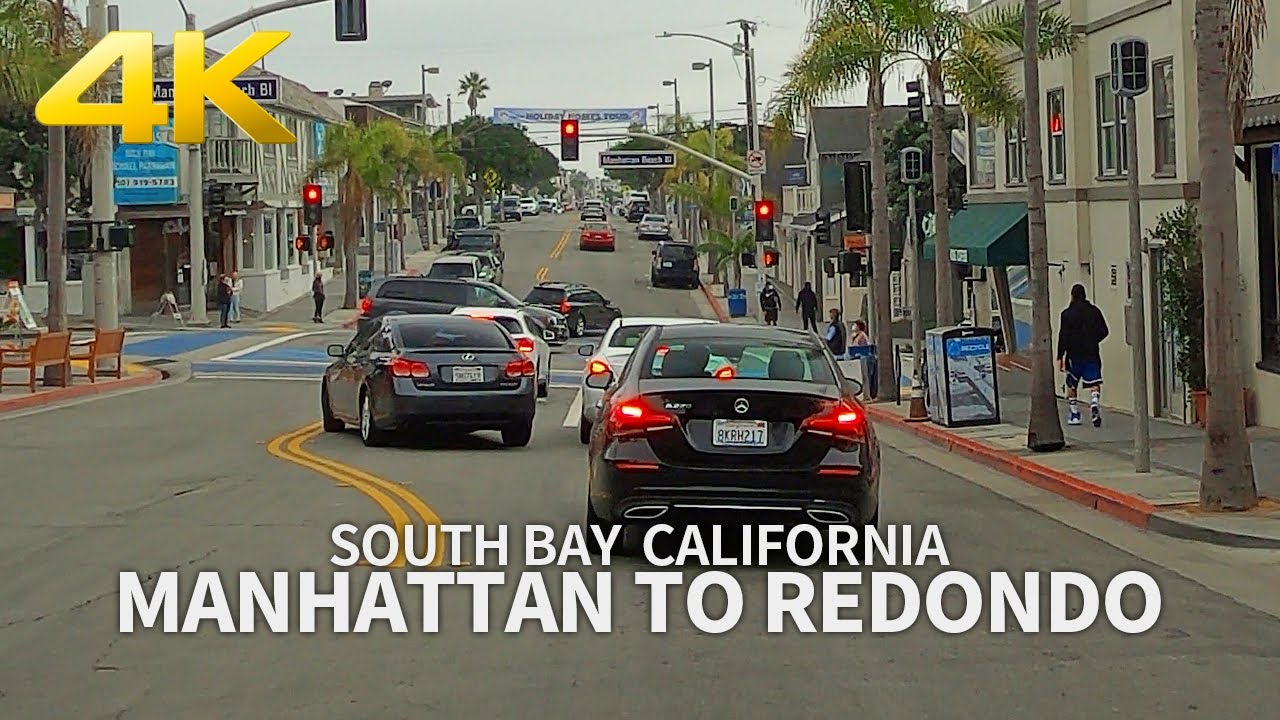 Driving Manhattan to Hermosa to Redondo Beach, South Bay, Los Angeles, California, USA, 4K UHD