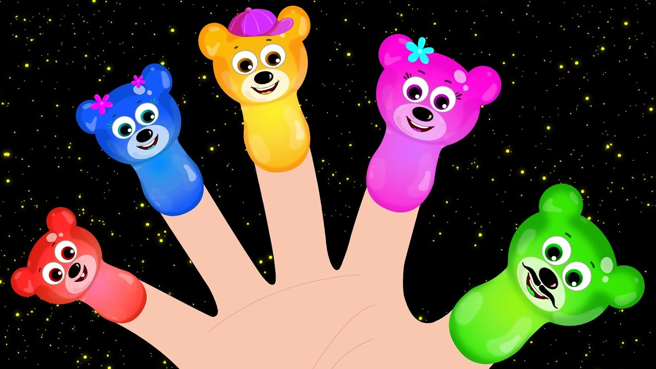 Learn Colors for Toddlers, Children, Kids, Gummy bear singing finger family rhymes for kids