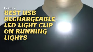 HOKOILN 2Pack Reflective Running Gear for Runners USB Rechargeable LED Light Clip On Running Lights