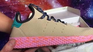 adidas Pharell Williams Ternnis HU Tan / Teal / Pink Marble Unboxing