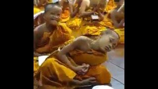 Boy Monk falling asleep while meditating