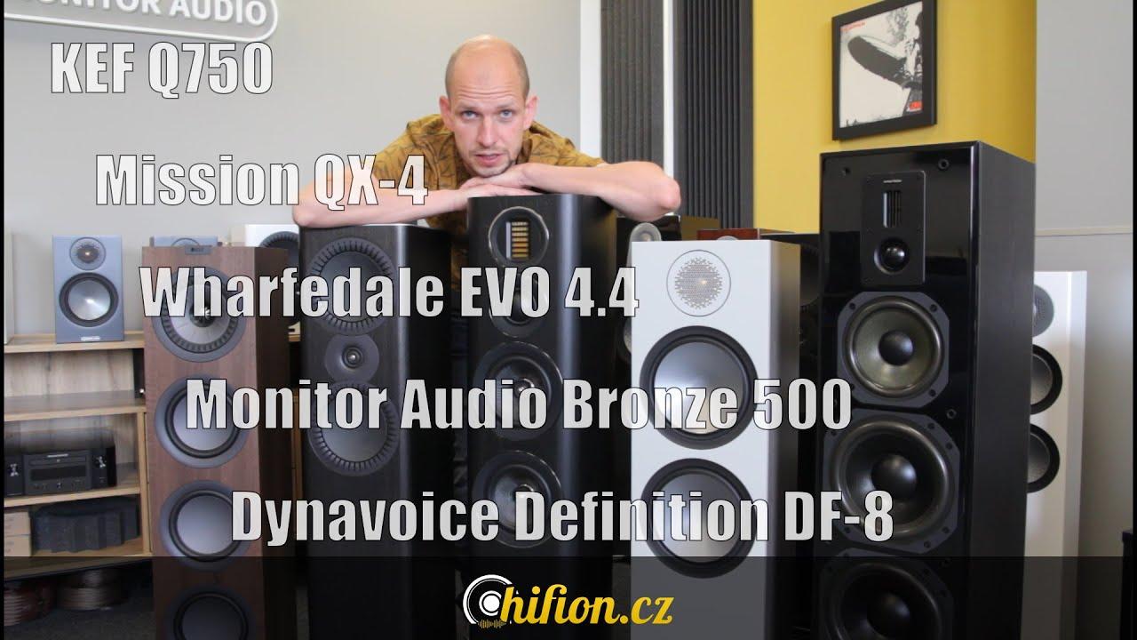 Porovnání reproduktorů Monitor Audio Bronze 500, Wharfedale EVO 4.4, KEF Q750, Mission QX-4 a Dynavo