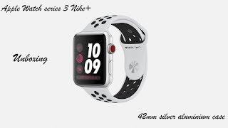 Apple Watch series 3 Nike+ 42 mm silver aluminium case unboxing