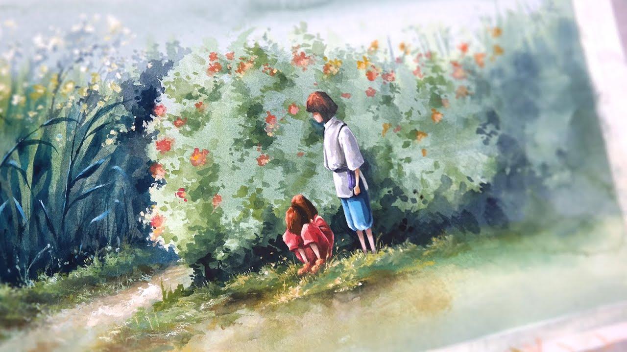 The Spiriting Away Of Sen And Chihiro Watercolor Painting Erudaart Youtube