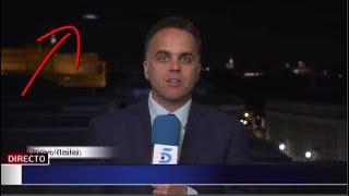OVNI aparece en pleno noticiero EN VIVO desde Roma, Italia