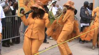 Coming out the door: Lady Buckjumpers 2011 Second Line Parade