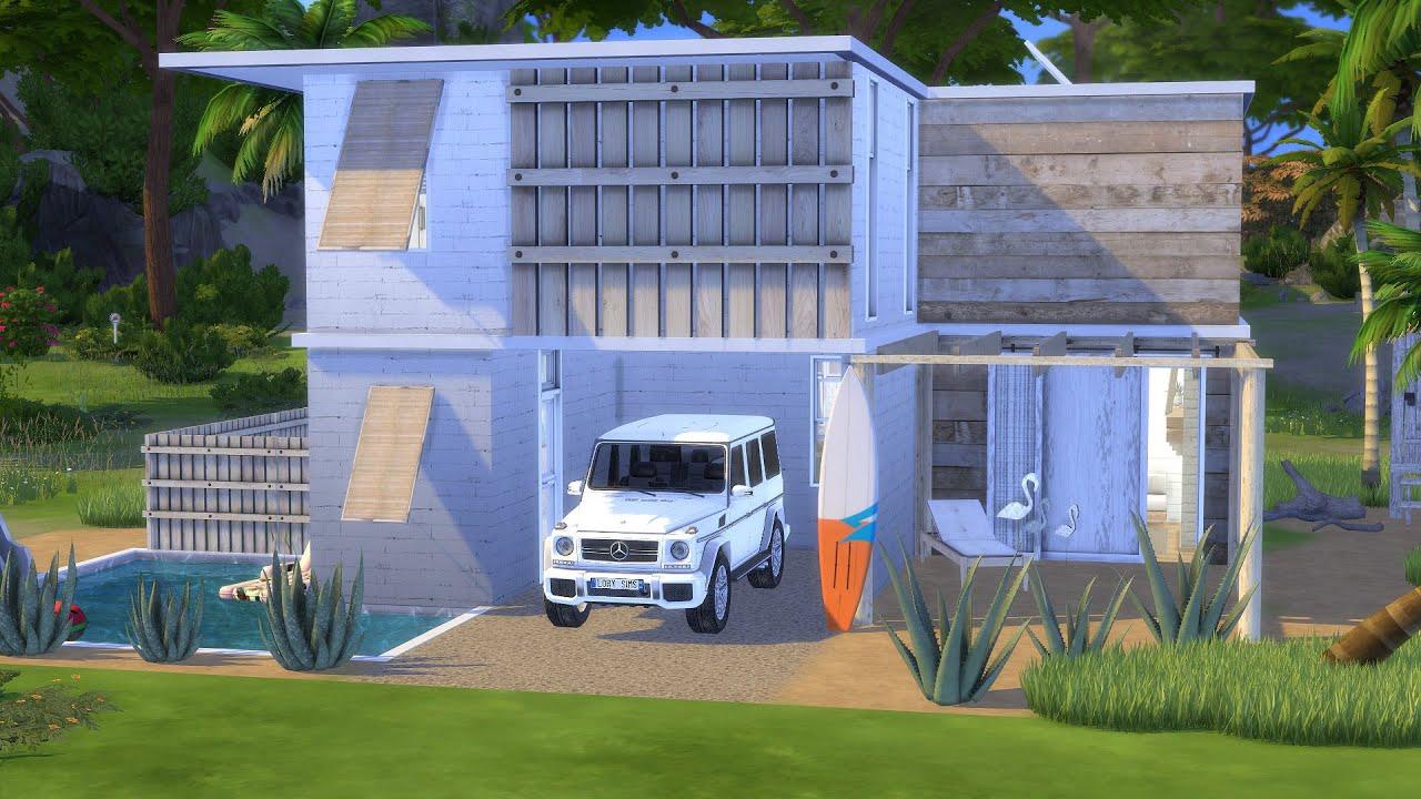 MODERN HOUSE NEAR THE BEACH   The Sims 4   CC Speed Build
