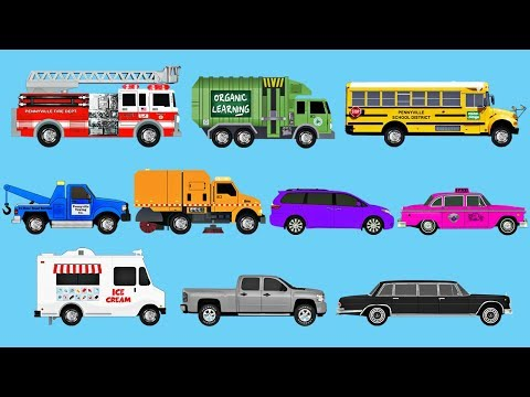 Learning Colors with Street Vehicles - Learn Colours Fire Trucks, Garbage Trucks & More