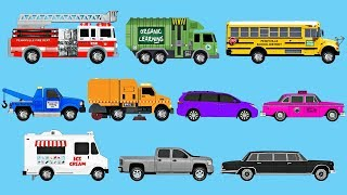 learning colors with street vehicles learn colours fire trucks garbage trucks more