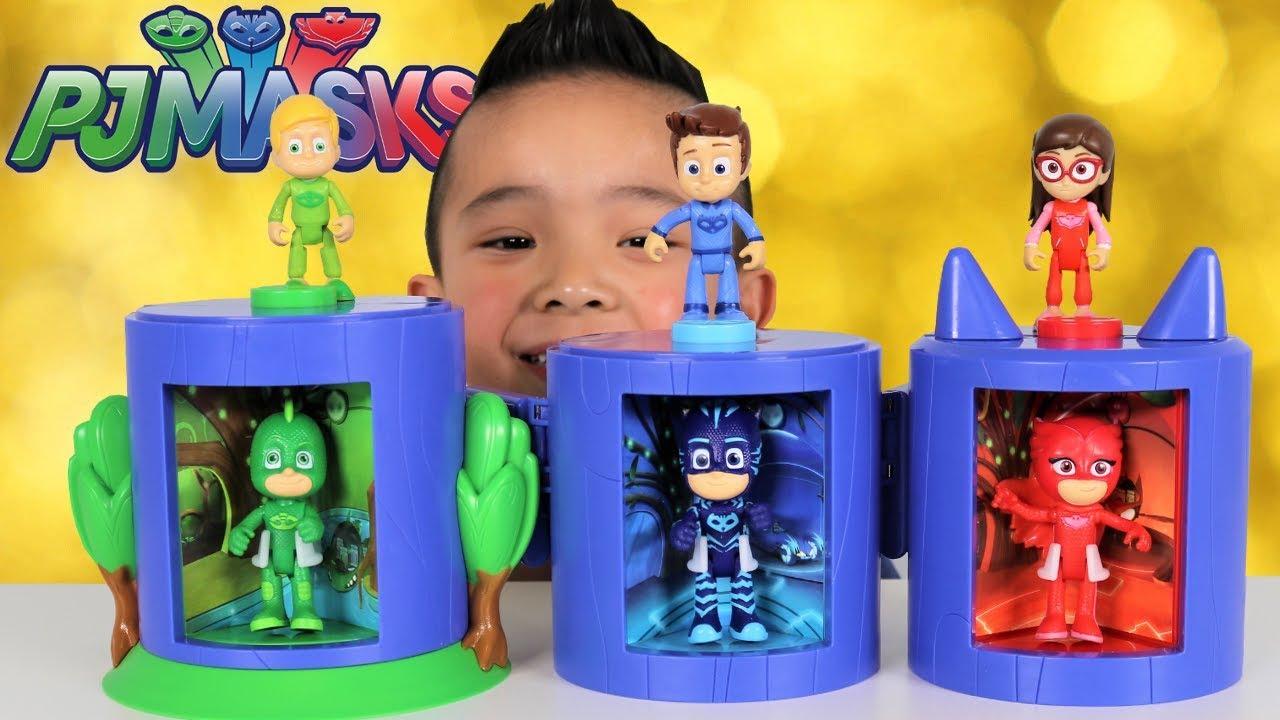 Pj Masks Transforming Headquarters Toys With Greg Connor Amaya Catboy Gekko Owlette Ckn Toys Youtube