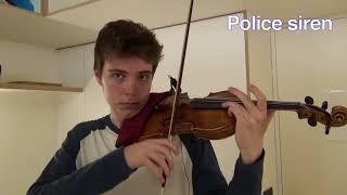 City sounds on violin