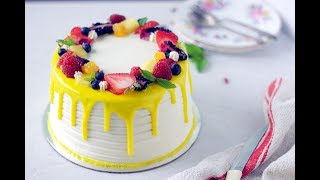How to make Eggless Fresh Fruit Cake with Whipped Cream