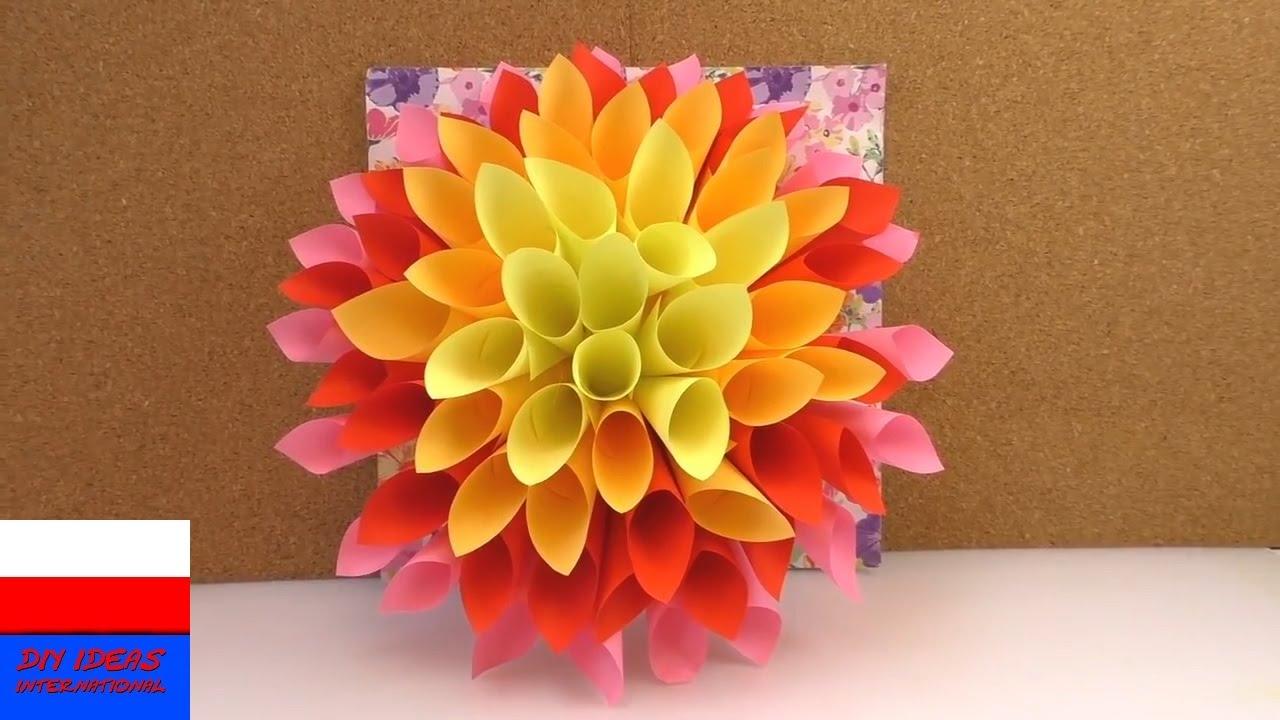 Wielki Kwiat Z Papieru Jako Wiosenna Dekoracja Robimy Dalie Z Kartek Do Notowania Youtube