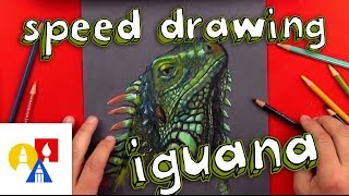 Bonus - Iguana Drawing With Colored Pencils on Black Paper