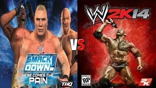 WWE SmackDown - Here Comes The Pain / WWE 2K14 Gameplay Comparison | Y2J vs Goldberg