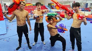 NERF GYMNASTICS WAR! (CRAZY)