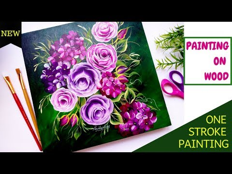 Quick and easy Floral painting on wood - One stroke painting flowers | Acrylic painting | DIY
