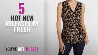 Hot New Fresh Women Clothing [2018]: Joe Fresh Womens Medium Animal-Print Twist-Knot Blouse Brown M