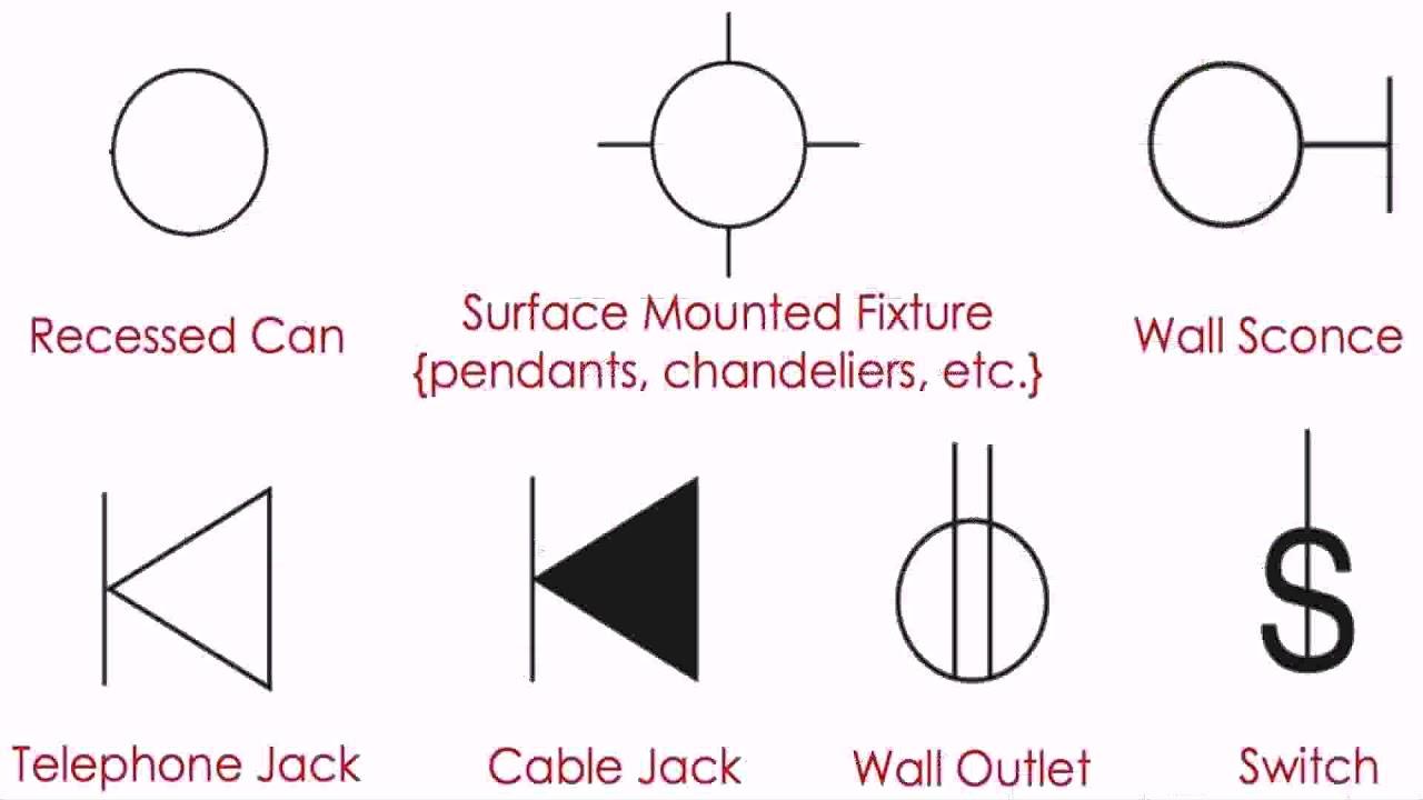 house floor plan electrical symbols [ 1280 x 720 Pixel ]
