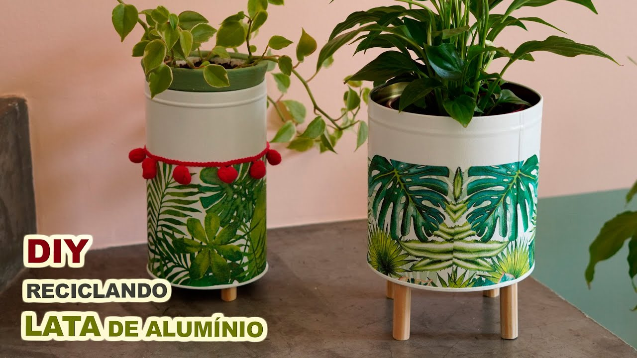 Reciclando lata de alumínio com tinta de parede e guardanapo estampado para decorar a casa