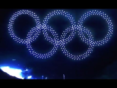 Opening Ceremony with Drone show at PyeongChang 2018 Winter Olympics at South Korea