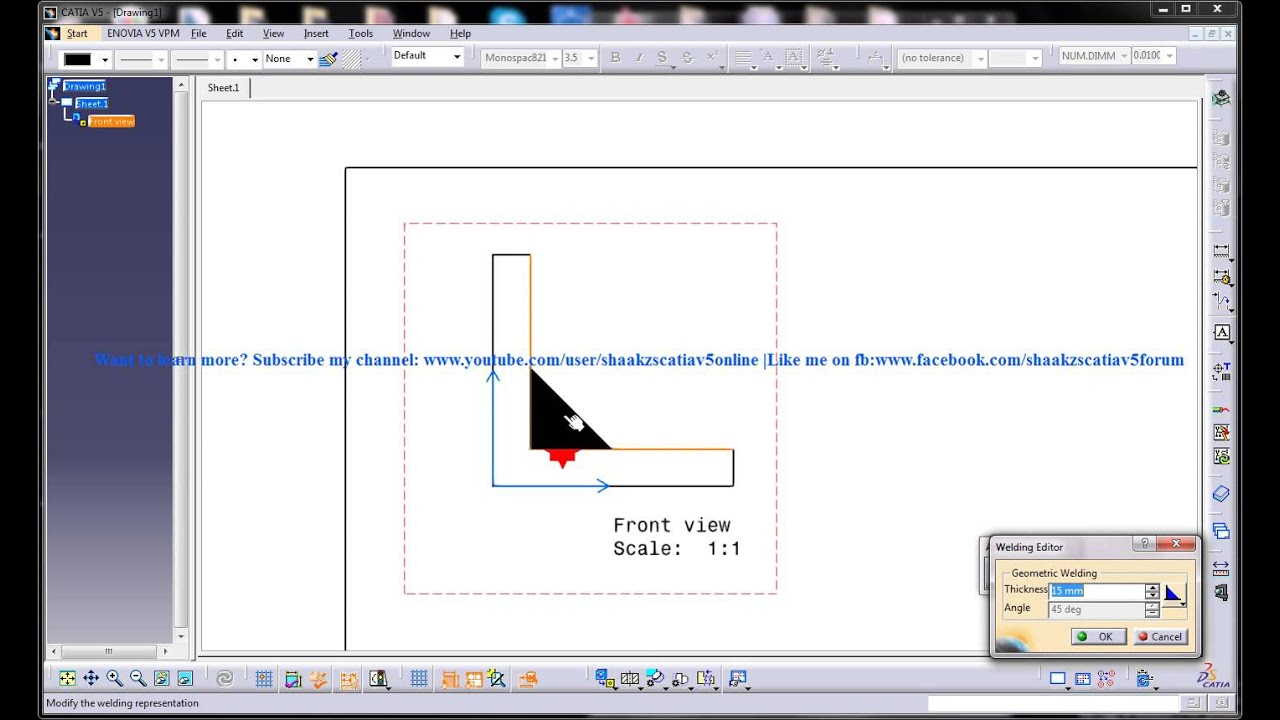 Catia V5 Drafting|Apply Weld|Welding Symbol Tail