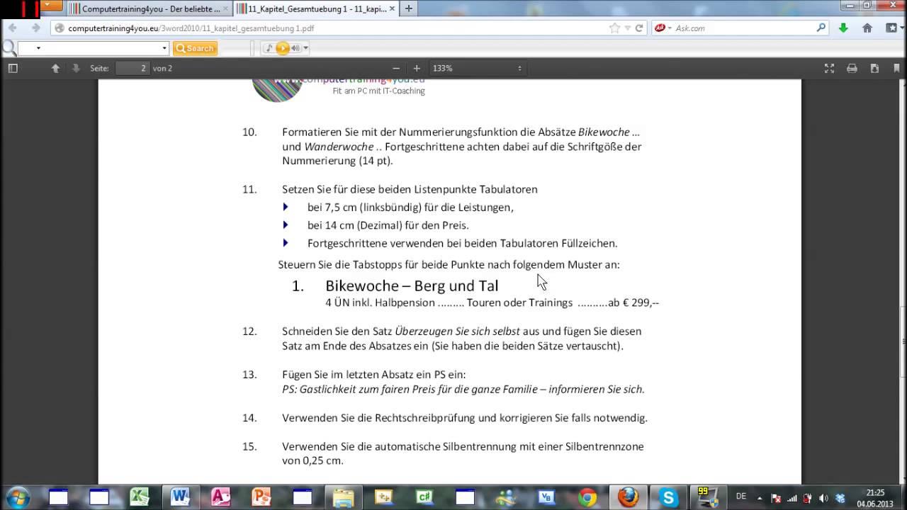 Word 2010 Lernen Ecdl Tutorial Part 1 Germandeutsch Youtube