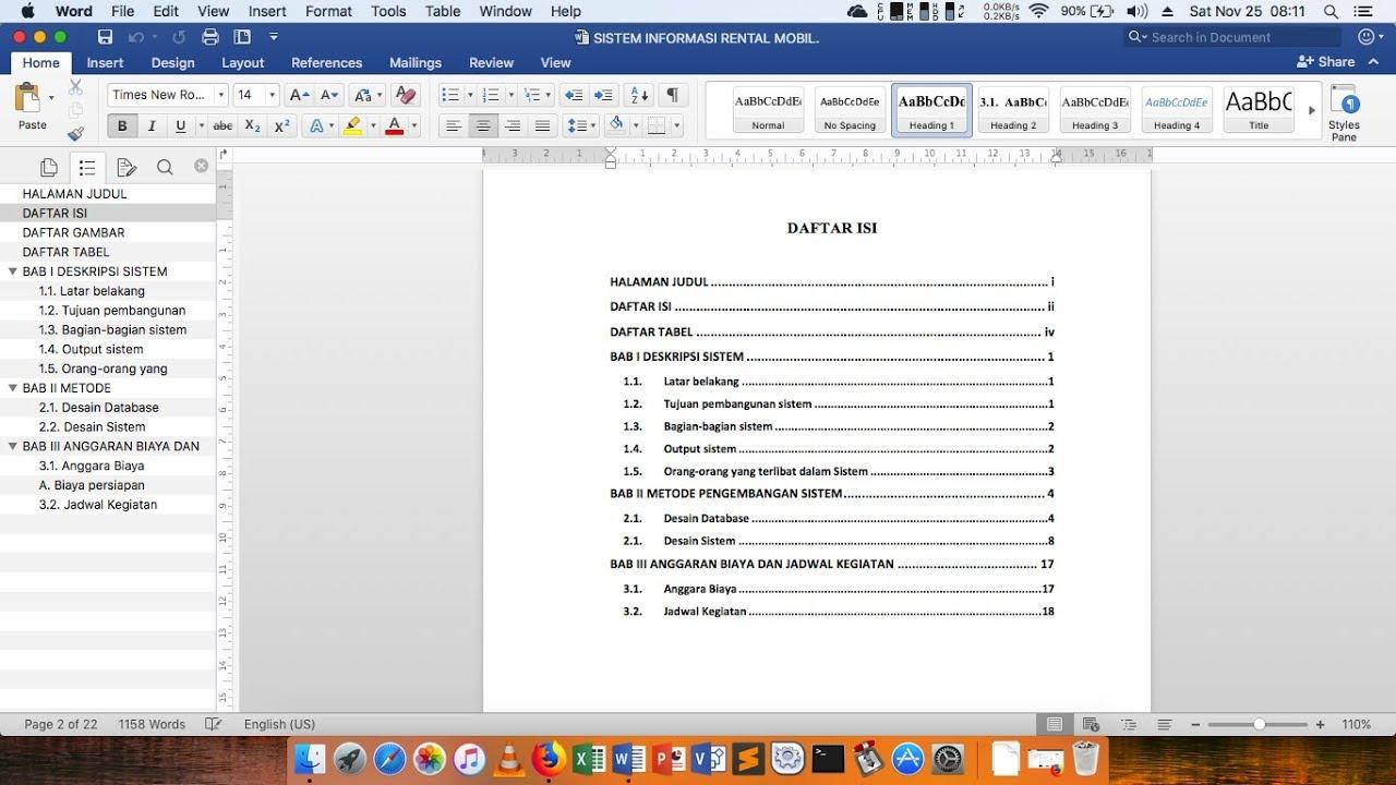 Cara Membuat Nomor Halaman Dan Daftar Isi Otomatis Microsoft Word Di Mac Youtube