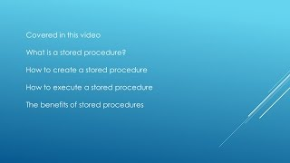 SQL TUTORIAL - How to create a Stored Procedure