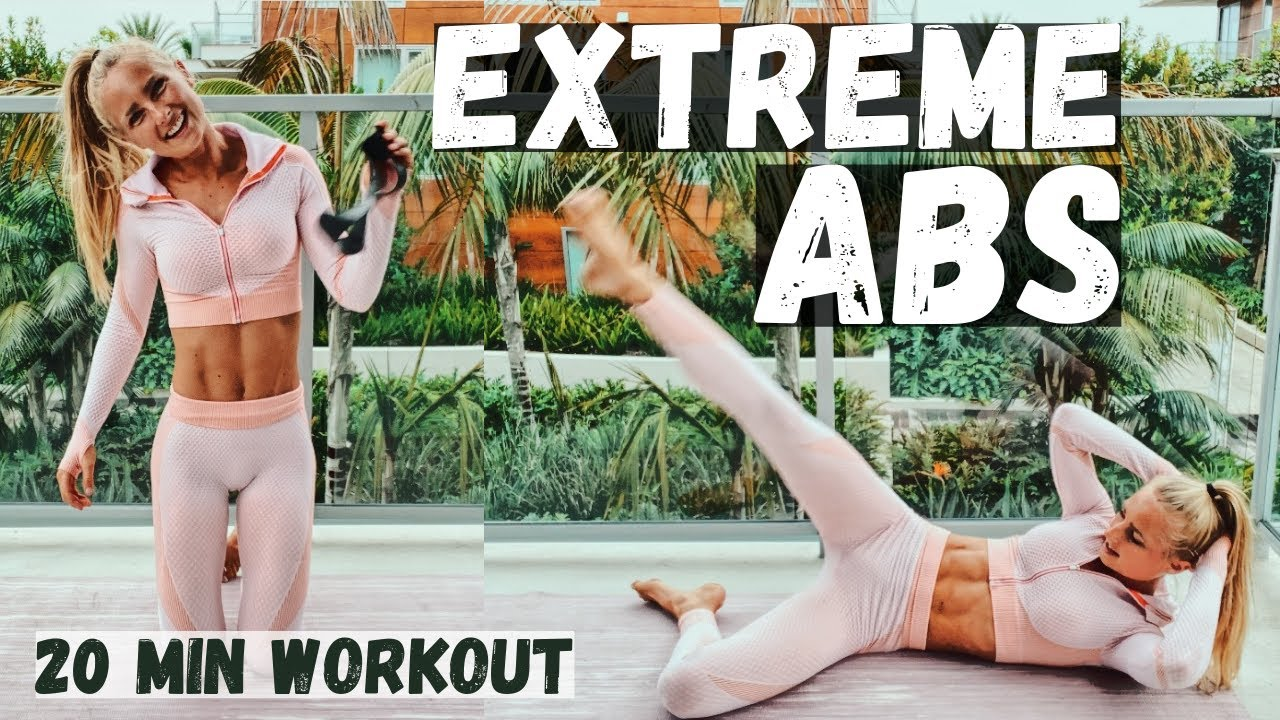 EXTREME AB WORKOUT! 20 MINUTES - 20 AB EXERCISES FOR OBLIQUES, UPPER AND LOWER ABS.