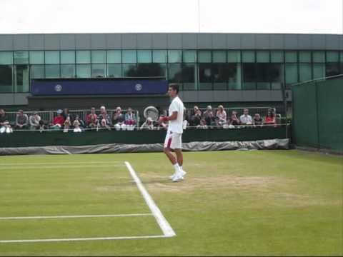 Novak Djokovic practice at Wimbledon 2011