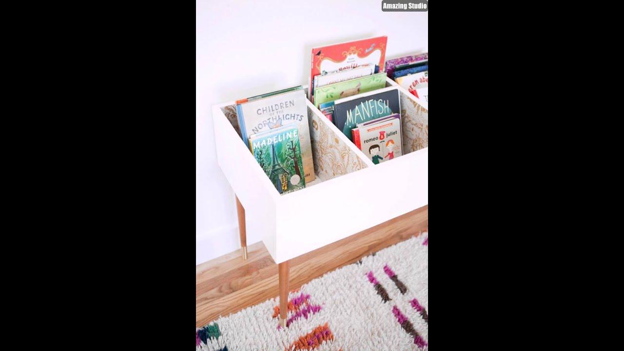 DIY Kids Book Bin Storage Ideas & DIY Kids Book Bin Storage Ideas - YouTube