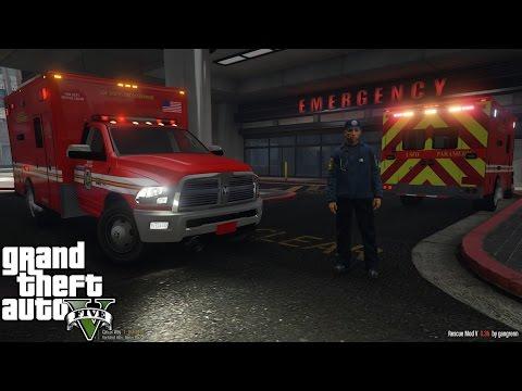 GTA 5 | Rescue Mod V Day 13 | Paramedic Mod | New Dodge Ram 3500 Ambulance | RAMBULANCE