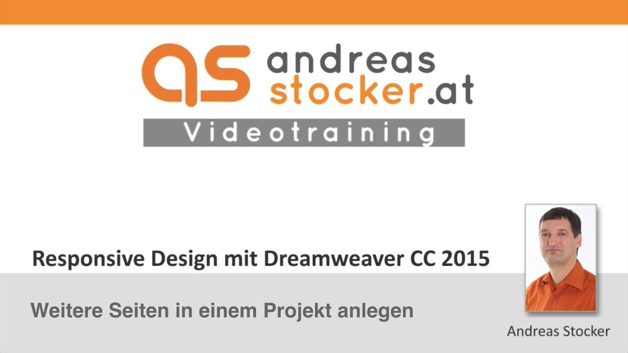 Dreamweaver CC 2015 - Weitere Seiten in einem Projekt anlegen ...