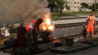 Термитная сварка рельсов / Thermite welding of the rails(Термитная сварка рельсов в ст. Тапа, Эстония, 31.08.2011 Thermite welding of the rails, Tapa station, Estonia, 31.08.2011., 2014-04-13T06:12:05.000Z)